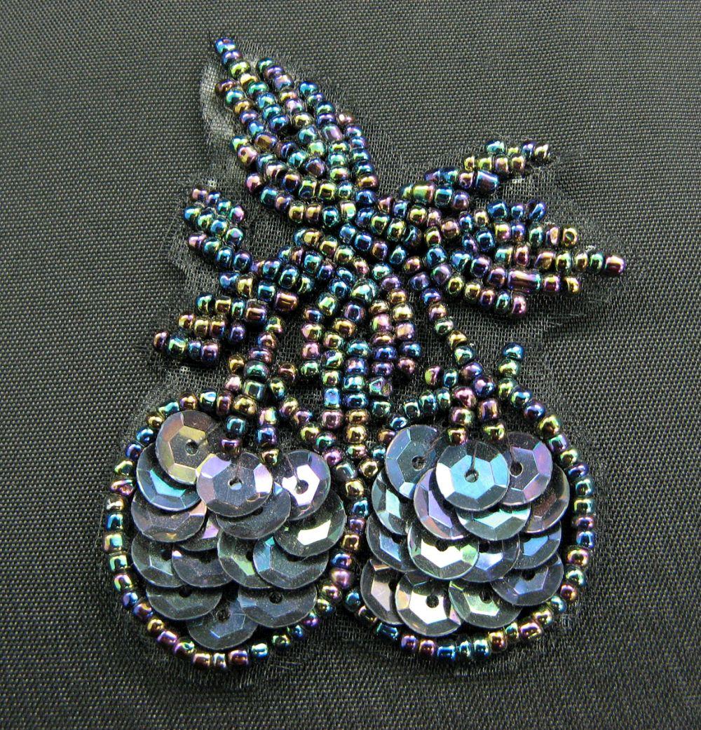 Applikation bunte Perlen und Pailletten 4x6 cm