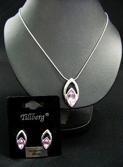Kette und Ohrstecker mit rosa Swarovski-Steinen