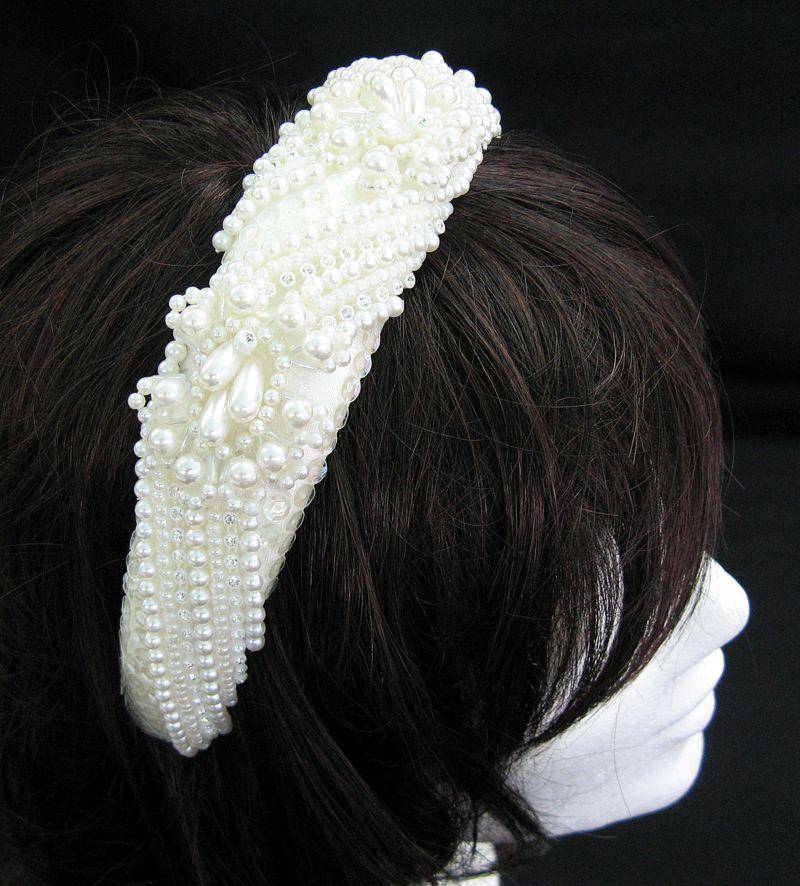 Haarreif mit Perlen, beige  Sonderpreis!