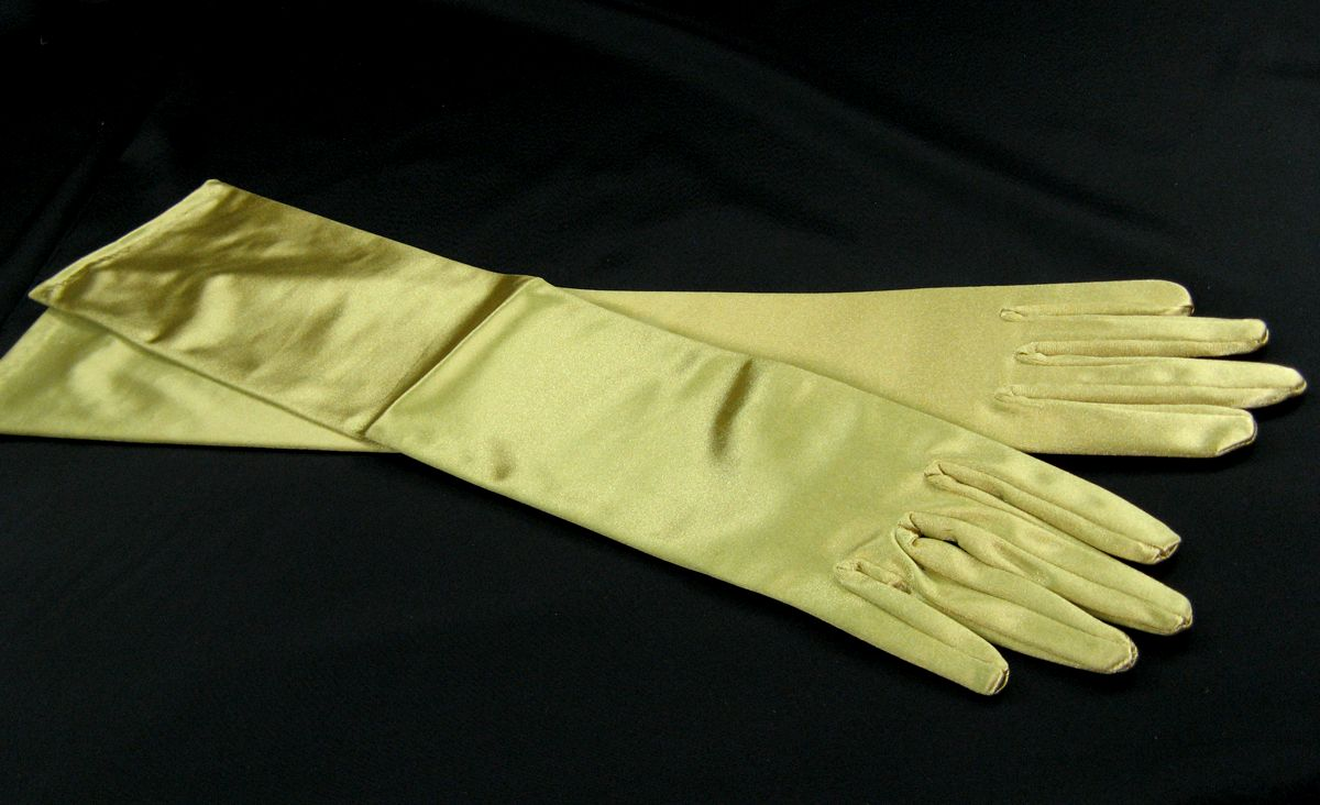 Fingerhandschuhe gold, Satin, L
