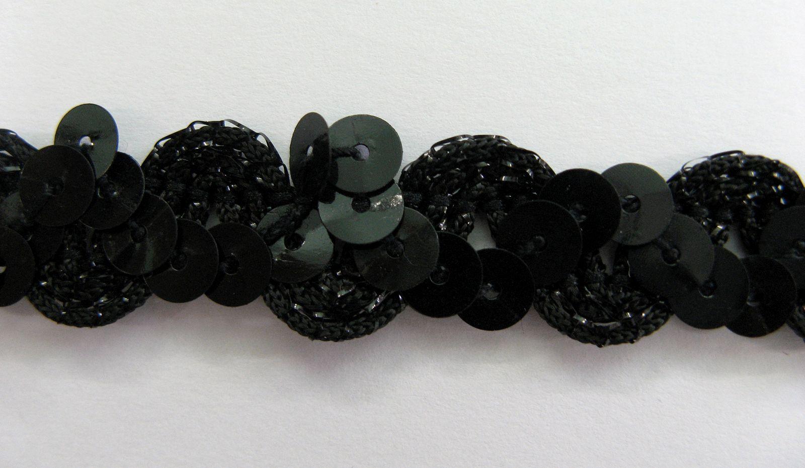 Pailletten auf Organza, schwarz, 1,5cm breit