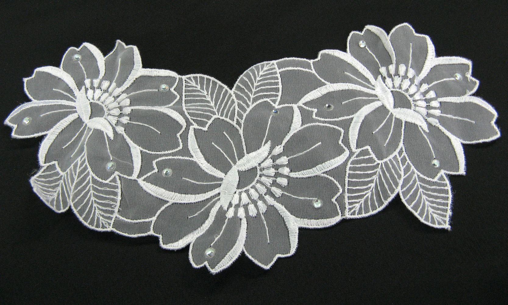 Organza Stickerei, mit Strass 25x12 cm