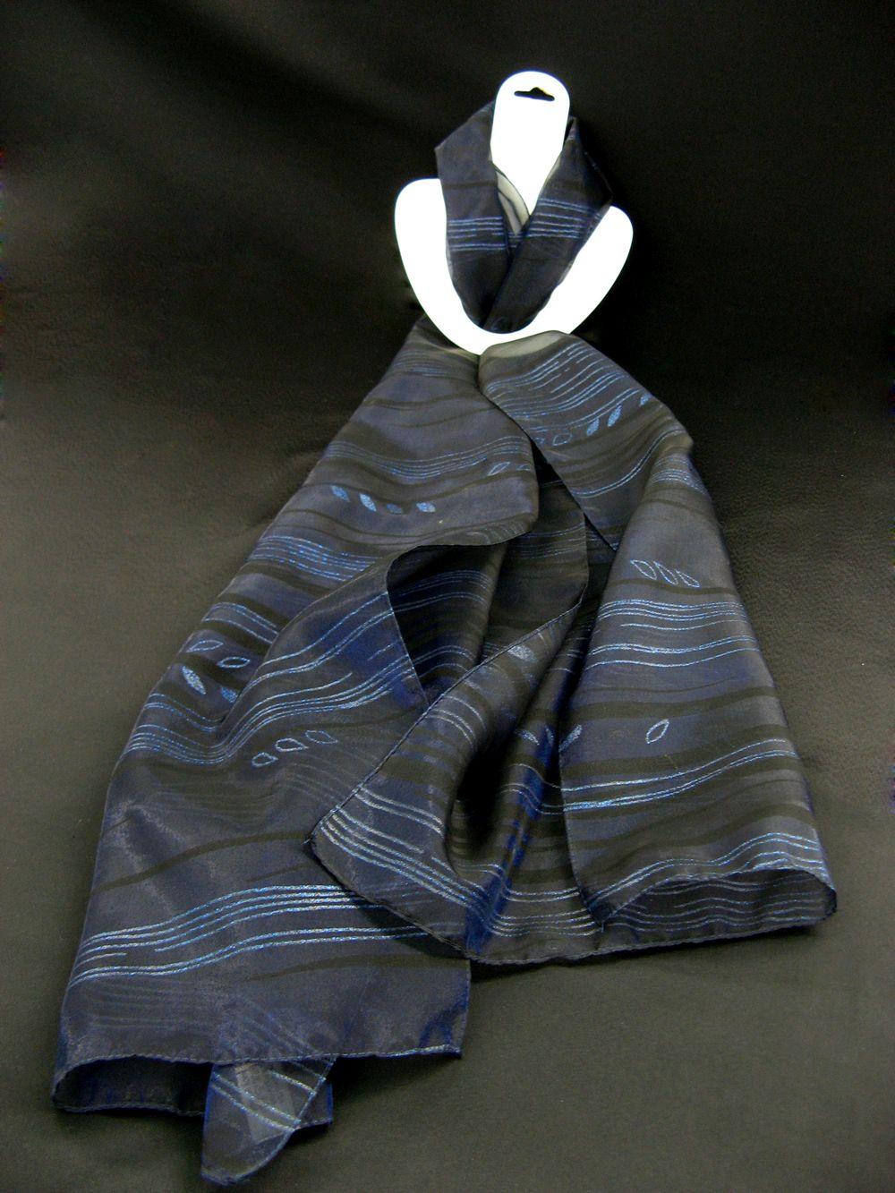 Schal schwarz Organdy mit blauen Streifen